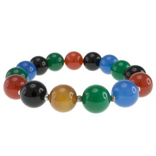 Pearlz Ocean Agate Bead Stretch Bracelet