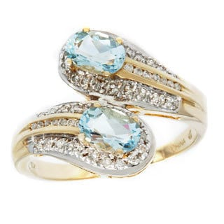 D'sire 10k Gold Aquamarine and 1/5ct TDW Diamond Ring (H-I, I1-I2)