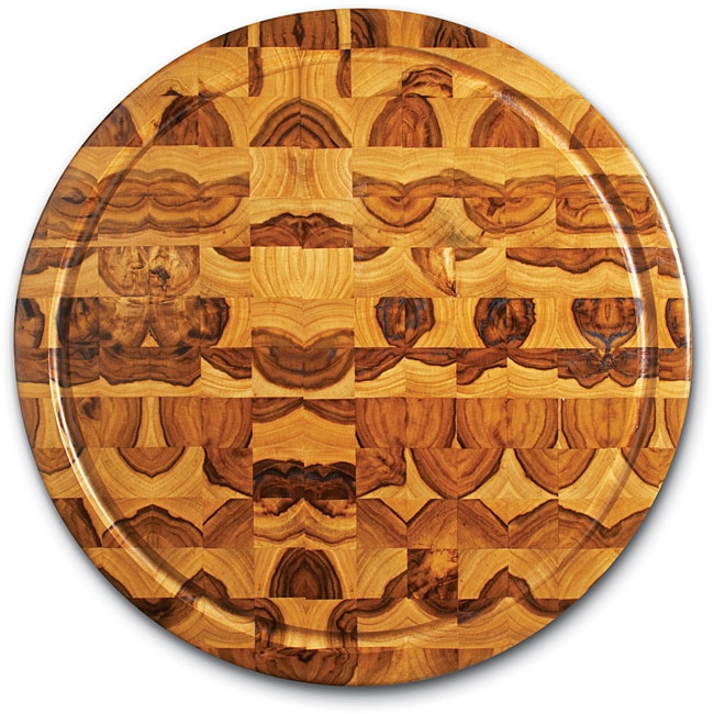 Proteak 305 Round Teak Cutting Board End Grain with Juice Canal (18 x 2 inch)