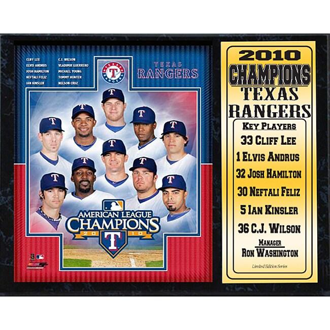 Texas Rangers 2010 American League Champions Stat Plaque