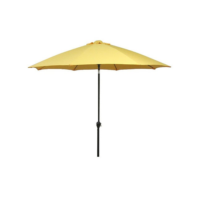 California Umbrella 9' Rd Aluminum/Fiberglass Rib Market Umbrella, Crank Open, Push Tilt, Bronze Frame Finish, Polyester Fabric