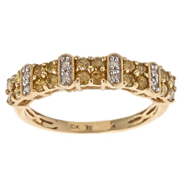 Anika and August 10k Yellow Gold 3/4ct TDW Yellow and White Diamond Ring (G-H, I1-I2)