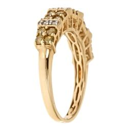 Anika and August 10k Yellow Gold 3/4ct TDW Yellow and White Diamond Ring (G-H, I1-I2) - Thumbnail 1