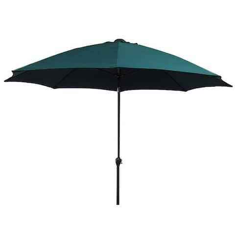 California Umbrella 9' Rd Aluminum/Fiberglass Rib Market Umbrella, Crank Open, Push Tilt, Bronze Frame Finish, Polyester Fabric