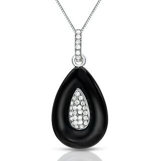 14k Gold Modern Black Onyx and 1/6ct TDW Pave Diamond Necklace by Auriya