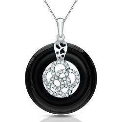 Auriya 14k White Gold Black Onyx and 1/4ct TDW Diamond Circle Necklace (G-H, I1-I2)