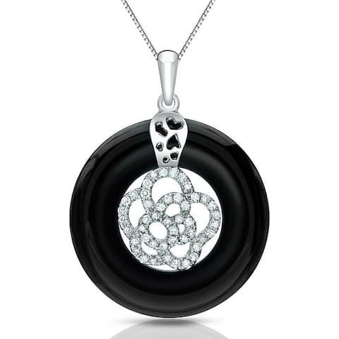14k Gold Modern Black Onyx and 1/4ct TDW Diamond Circle Necklace