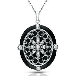 Auriya 14k White Gold Black Onyx and 1/4ct TDW Diamond Necklace (G-H, I1-I2)