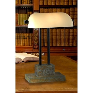 Design Craft Parker Natural Slate 15-inch Banker Lamp