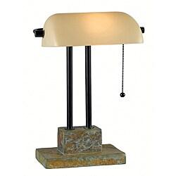 Parker 15-inch Natural Slate Banker Lamp