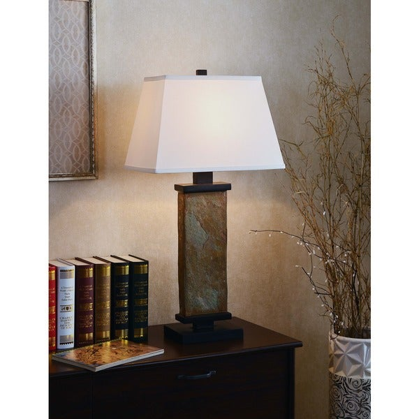 logan 29 inch natural slate table lamp free shipping