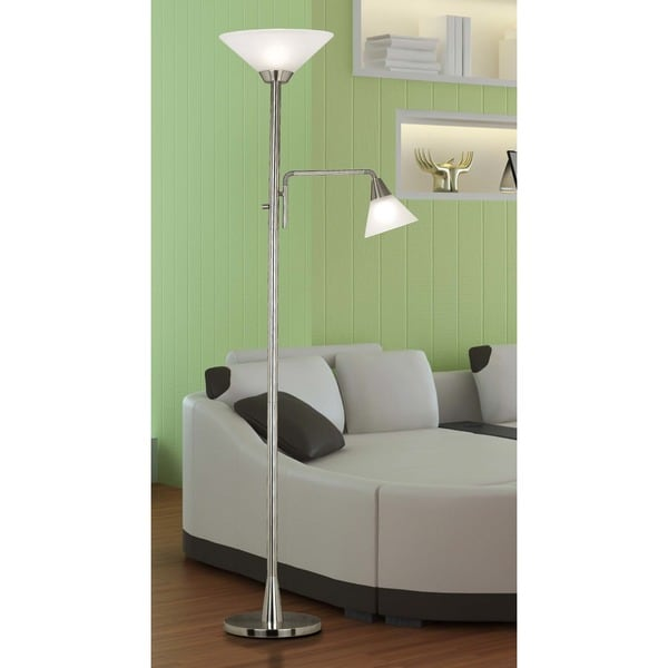 design craft rowe brushed steel 72inch 2light torchiere - Torchiere