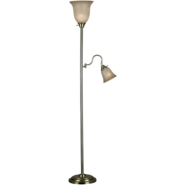Windham 72-inch 2-light Vintage Brass Finish Torchiere
