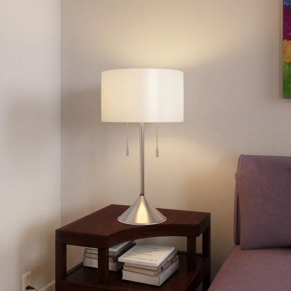 Porch & Den Highland Park Buena Vista 30-inch Brushed Steel Table Lamp