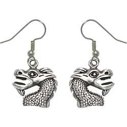 Carolina Glamour Collection Pewter Unisex Dragon Head Earrings