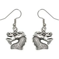 Pewter Unisex Dragon Head Earrings
