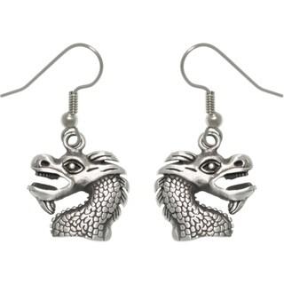 Pewter Unisex Dragon Head Earrings