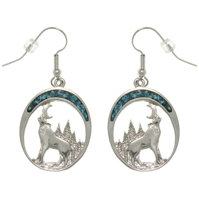Carolina Glamour Collection Pewter Created Turquoise Howling Wolf Earrings