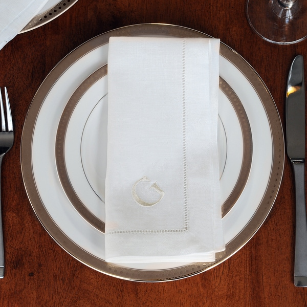 Monogrammed Cream Linen Hemstitch Napkins (Set of 6)