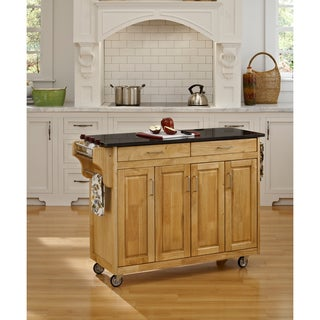 Home Styles Create-a-Cart Natural Finish Black Granite Top Cart