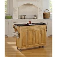 Gracewood Hollow Defoe Natural Finish Black Granite Top Kitchen Cart