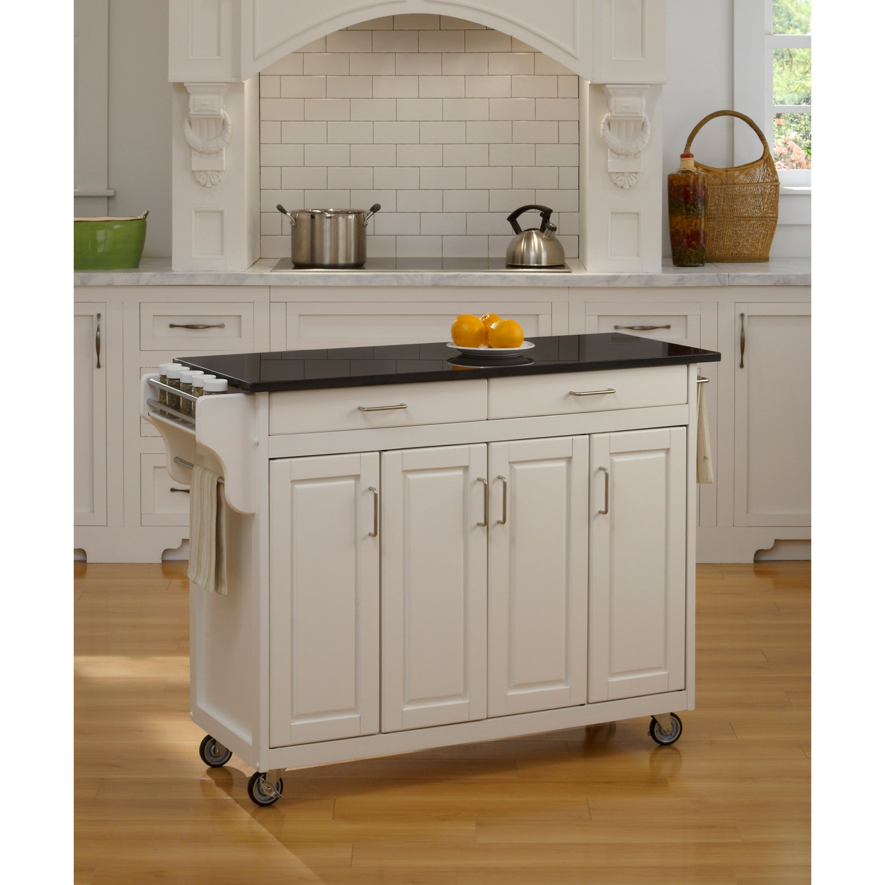 Gracewood Hollow Defoe White Finish Black Granite Top Kitchen Cart