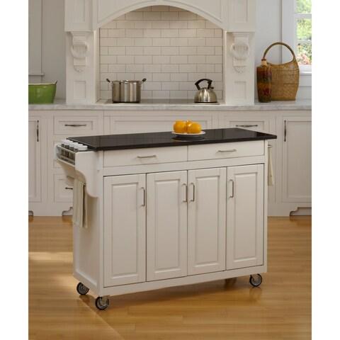 Gracewood Hollow Defoe White Finish Black Granite Top Kitchen Cart