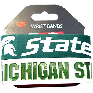 Aminco Michigan State Spartans Rubber Wristbands (Set of 2)