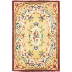 Safavieh Handmade French Aubusson Loubron Gold Premium Wool Rug (2' x 3')