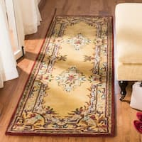 Safavieh Handmade French Aubusson Loubron Gold Premium Wool Rug - 2' x 3'