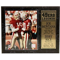 San Francisco 49ers Joe Montana and Jerry Rice Stat Plaque