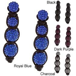 La Preciosa Sterling Silver and Black Cord Crystal Bead Earrings