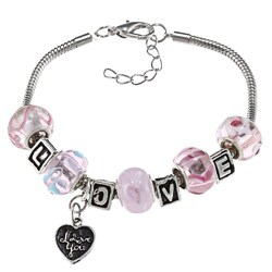 La Preciosa Silverplated Pink Bead 'LOVE' and Heart Charm Bracelet