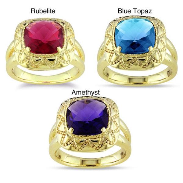 Miadora 18k Gold Overlay Synthetic Gemstone Ring