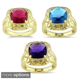 Miadora 18k Gold Overlay Synthetic Gemstone Ring