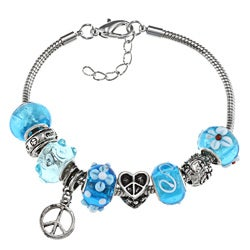 La Preciosa Silverplated Blue Bead Peace Symbol Charm Bracelet