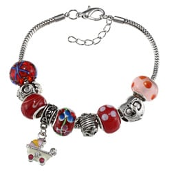 La Preciosa Silverplated Red Baby Theme Hanging Pram Charm Bracelet
