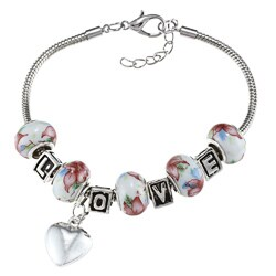 La Preciosa Silverplated Flower Bead 'LOVE' and Heart Charm Bracelet
