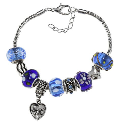 La Preciosa Silverplated Blue Bead 'I Love You' Heart Charm Bracelet