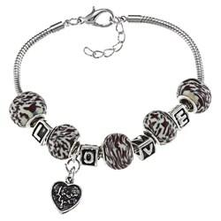 La Preciosa Silverplated Bead 'LOVE' and Heart Charm Bracelet