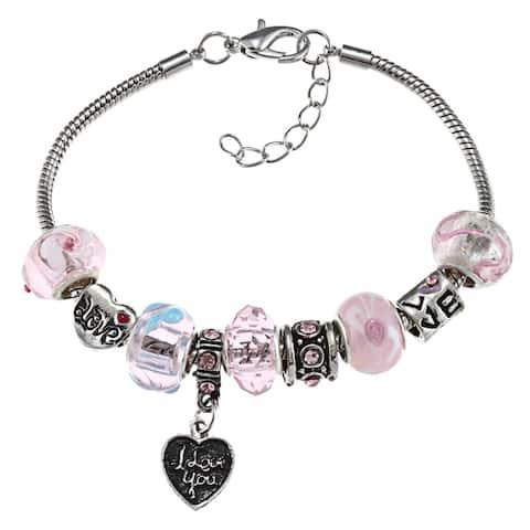 La Preciosa Silverplated Pink Bead and 'I Love You' Heart Charm Bracelet