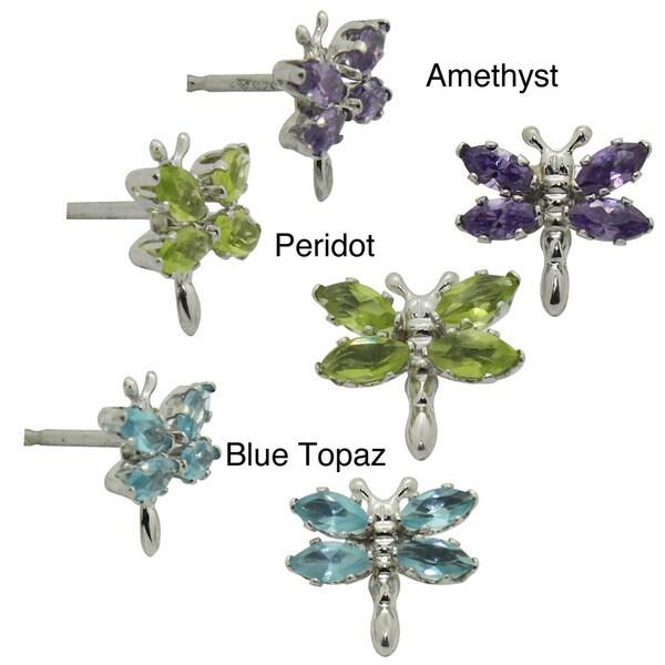 Gioelli Sterling Silver Created Gemstone Dragonfly Earrings