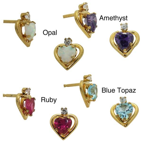 Gioelli Gold over Silver Created Gemstone and CZ Heart Earrings