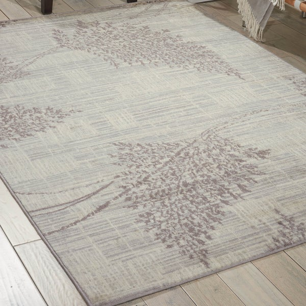 Nourison Utopia Ivory Leaf Abstract Rug - 7'10 x 9'10