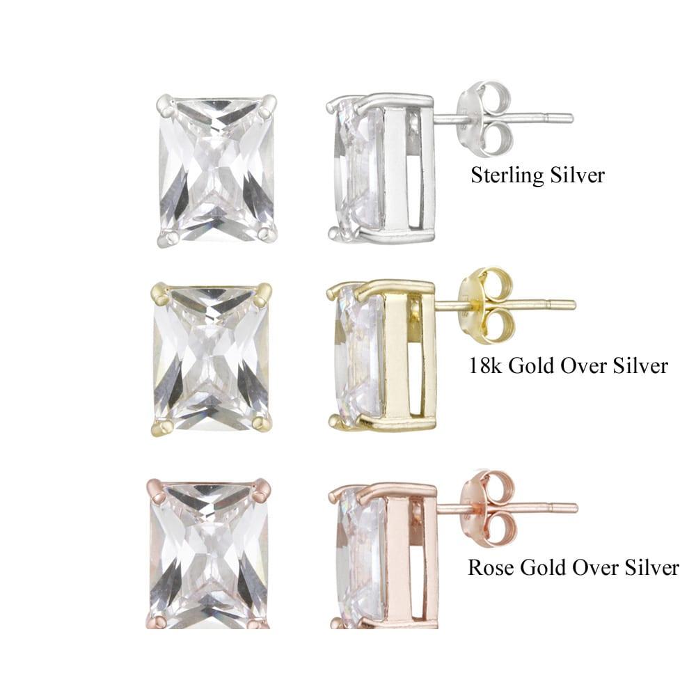 Icz Stonez Sterling Silver Emerald-cut Cubic Zirconia Stud Earrings (12 7/8ct TGW)