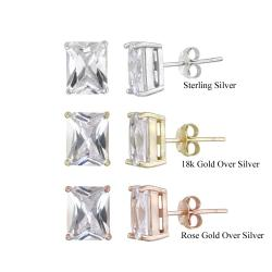 Icz Stonez Sterling Silver Cubic Zirconia Stud Earrings (8 7/8ct TGW)