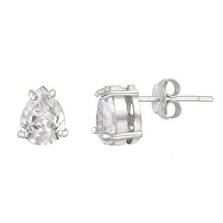 Icz Stonez Sterling Silver Pear-cut Cubic Zirconia Stud Earrings (3 4/5ct TGW)