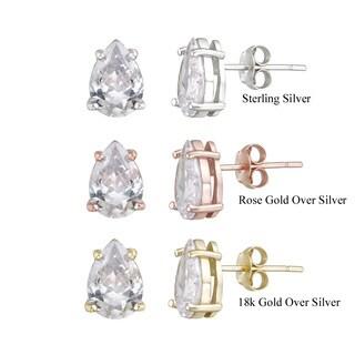 Icz Stonez Sterling Silver Pear-cut Cubic Zirconia Stud Earrings (6 1/8ct TGW)