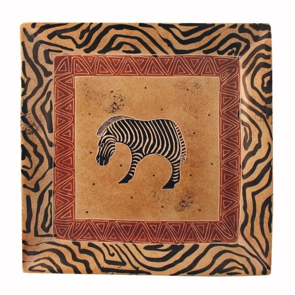 Grazing Zebra Square Soapstone Dish (Kenya)