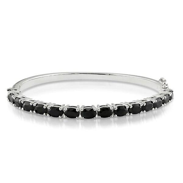 Miadora Sterling Silver 9 1/3ct TGW Black Sapphire Bangle Bracelet